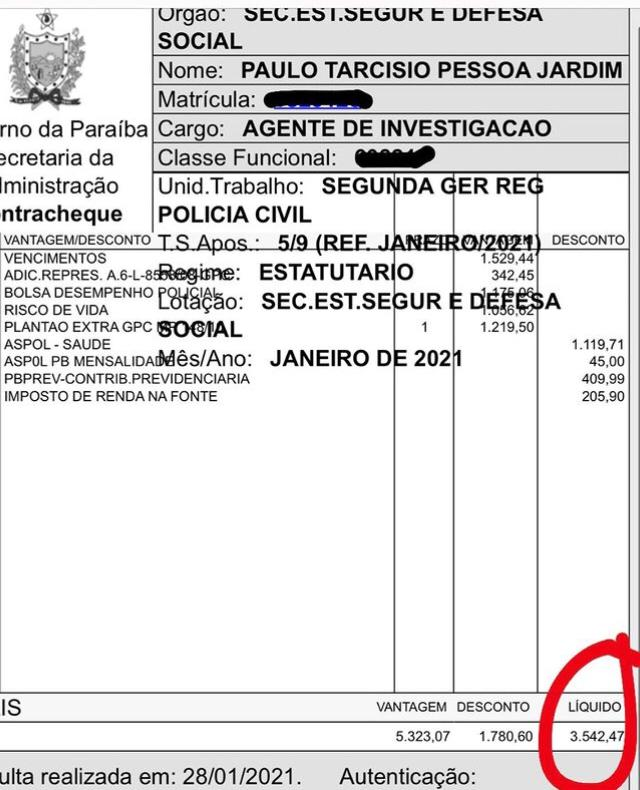 WhatsApp Image 2021 02 02 at 19.12.01 - Vereador de João Pessoa divulga valor do próprio salário nas redes sociais: 'para todos saberem quanto ganha um parlamentar'