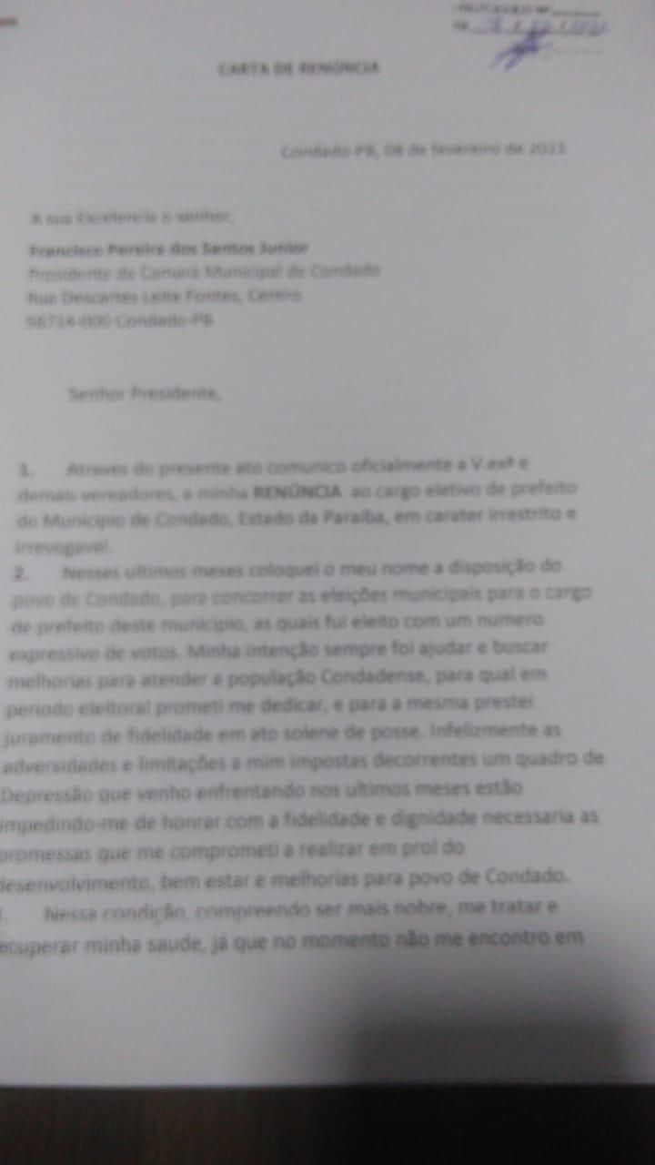 """WhatsApp Image 2021 02 08 at 20.08.02 - Depressão pós Covid-19 levou Jorge Henrique a renunciar prefeitura de Condado: """"não me encontro em condições"""" - LEIA CARTA"""