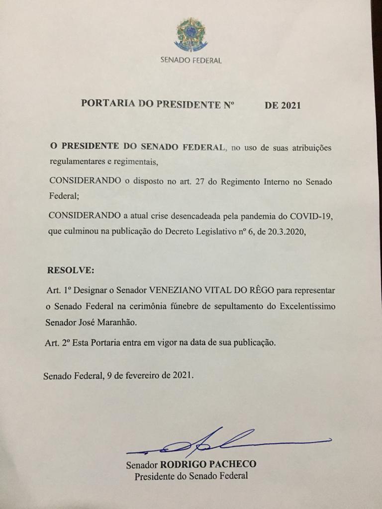 WhatsApp Image 2021 02 10 at 06.56.31 - Por designação do presidente Rodrigo Pacheco, Veneziano representará Senado Federal nos funerais de José Maranhão