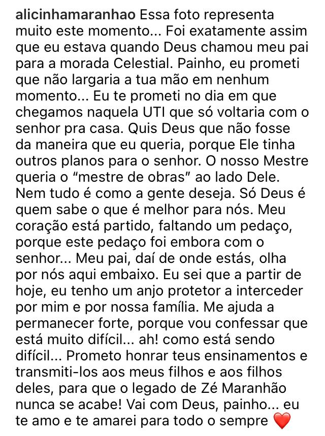 """WhatsApp Image 2021 02 10 at 20.58.50 - Filha de Zé Maranhão publica foto segurando mão do senador: """"foi exatamente assim que eu estava quando Deus chamou meu pai"""""""