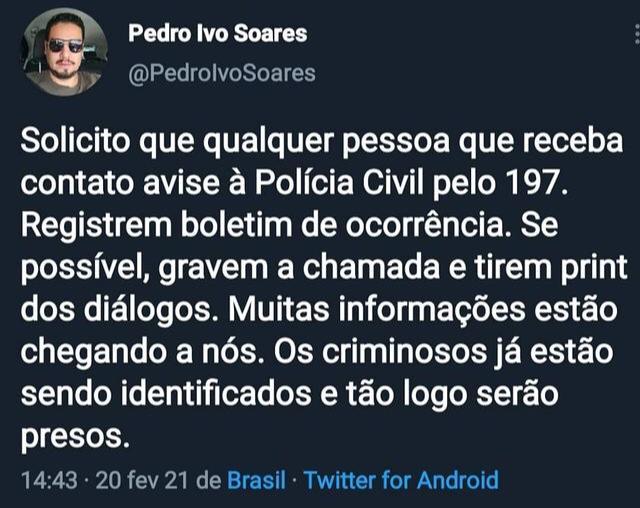 WhatsApp Image 2021 02 20 at 14.51.20 - Criminosos usam imagem do delegado Pedro Ivo para aplicar golpes através do WhatsApp