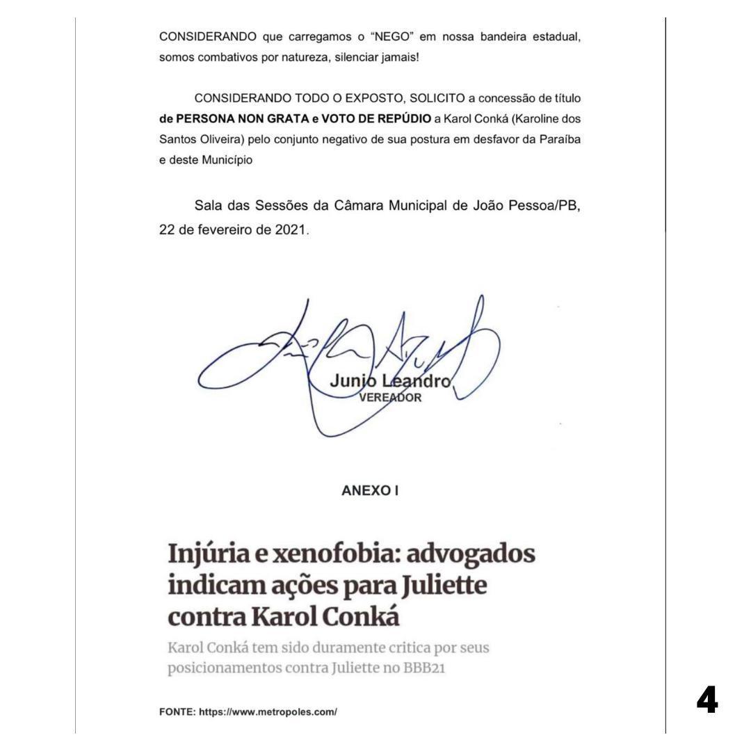 WhatsApp Image 2021 02 22 at 17.06.02 1 - PERSONA NON GRATA! Vereador protocola na câmara de João Pessoa voto de repúdio a rapper Karol Conká