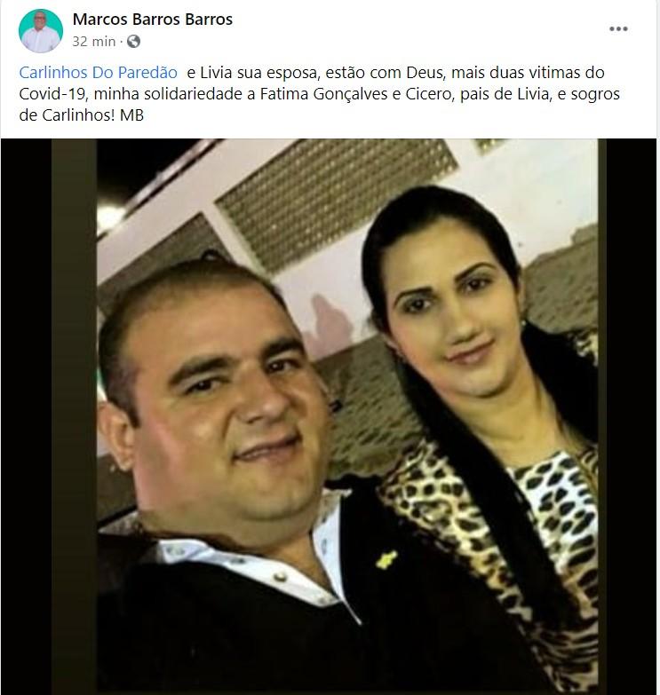 imagem 2021 02 22 195209 - VÍTIMAS DA COVID: casal que estava internado em hospital de Cajazeiras morre com vinte minutos de diferença