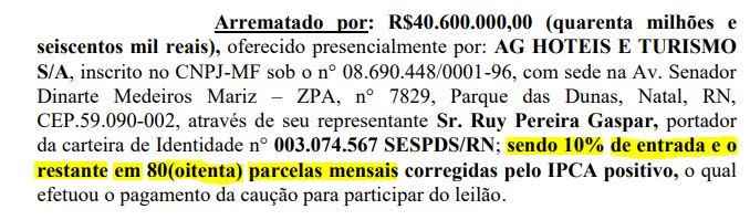 leilão - POLÊMICA DO HOTEL TAMBAÚ: Gaspar promete compra à vista e após o arremate valor foi parcelado em 80x; confira os documentos