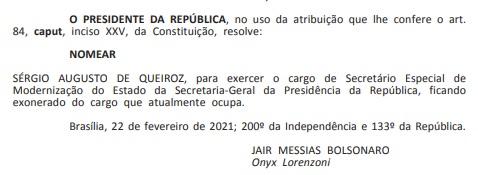 nomeacao sergio - Paraibano Sérgio Queiroz é nomeado para novo cargo no governo federal