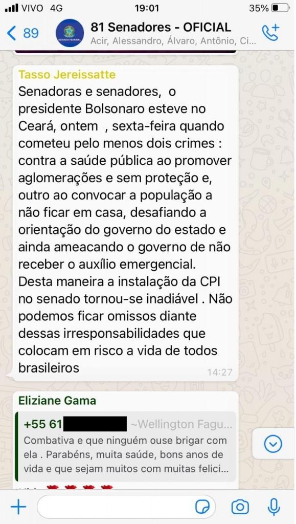 print tasso 1 - Senadores de oito partidos falam em CPI e impeachment de Bolsonaro devido à covid-19 - VEJA PRINTS