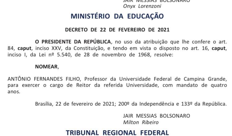 ufcg - Bolsonaro ignora ordem da lista tríplice e nomeia 3º colocado para Reitoria da UFCG