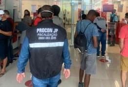 Procon-JP já autuou oito agências bancárias por descumprimento de medidas de combate à covid-19