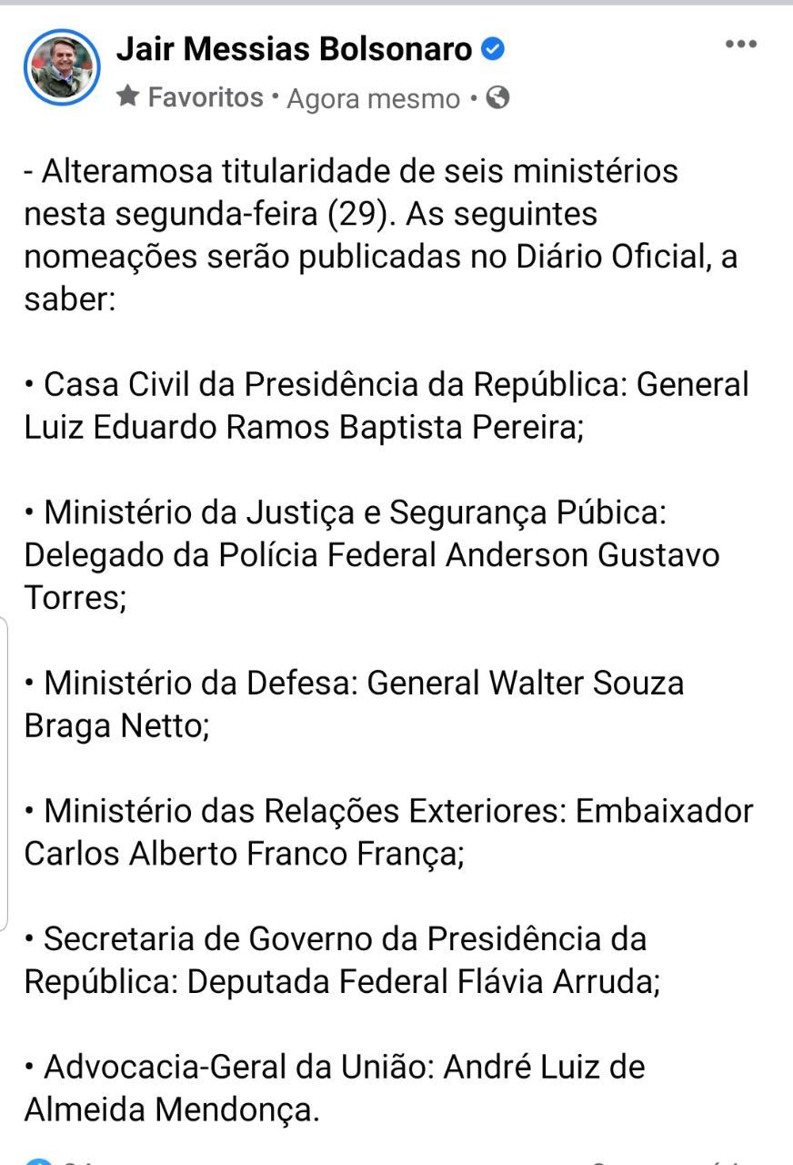 WhatsApp Image 2021 03 29 at 18.49.18 - URGENTE: Bolsonaro confirma reforma ministerial com seis mudanças; CONFIRA NOMES