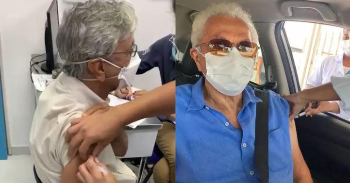 caetano e paulinho - Caetano Veloso e Paulinho da Viola são vacinados contra a Covid-19