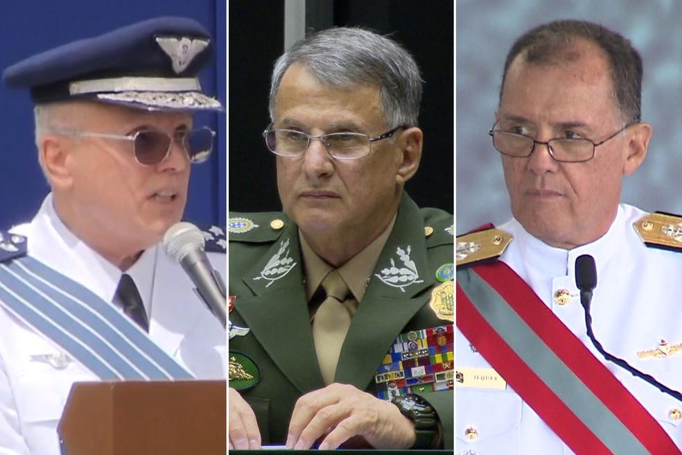 montagem comandantes - CRISE MILITAR: Ministério da Defesa anuncia saída dos comandantes das três Forças Armadas
