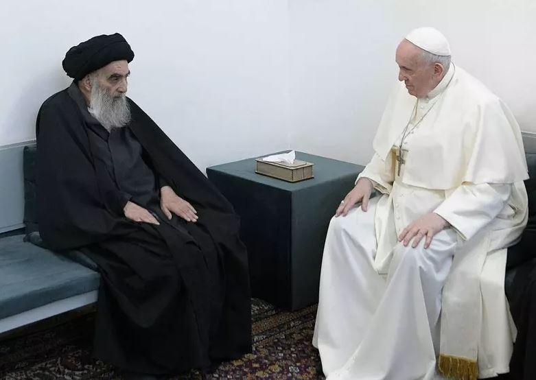 swww - Papa Francisco tem encontro histórico com aiatolá Ali al-Sistani no Iraque