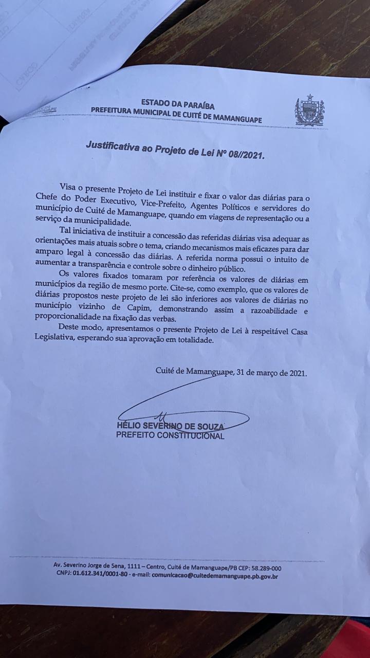 6ba10aa6 5494 4047 b0e1 69eab618284c - EM PLENA PANDEMIA: Câmara Municipal de Cuité de Mamanguape aprova aumento de até R $1.400 para diárias de hospedagens do prefeito; veja o documento