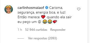 """99965 - Juliette ultrapassa número de seguidores de Carlinhos Maia e humorista responde: """"quando ela sair eu peço um @"""""""