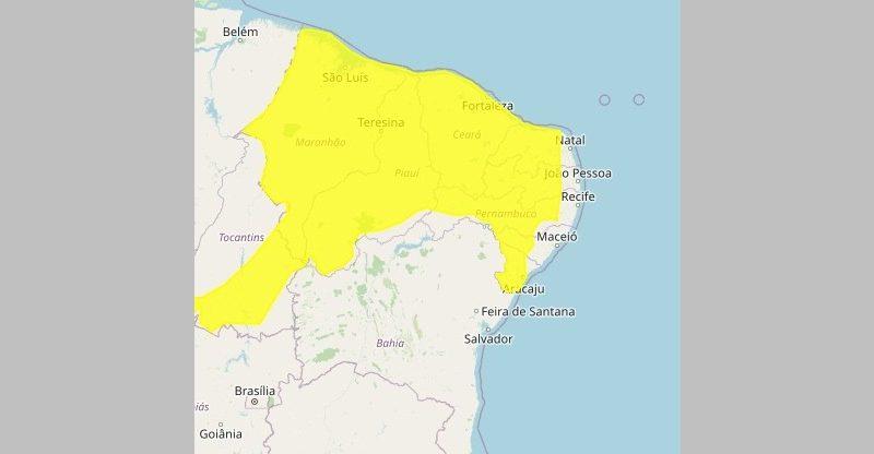 Alerta Inmet 800x416 1 - Inmet emite alerta de perigo potencial por chuvas intensas para várias cidades do Sertão