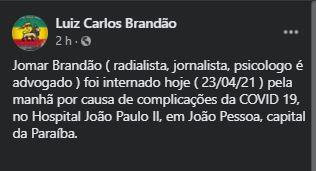 Capturar 49 - Apresentador da TV Correio, Jomar Brandão, contrai Covid e é internado em hospital de João Pessoa
