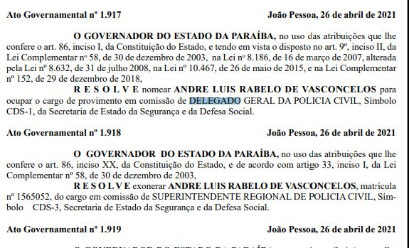 Capturar.JPGiki - Governador nomeia André Luís Rabelo de Vasconcelos como delegado geral da Polícia Civil na Paraíba