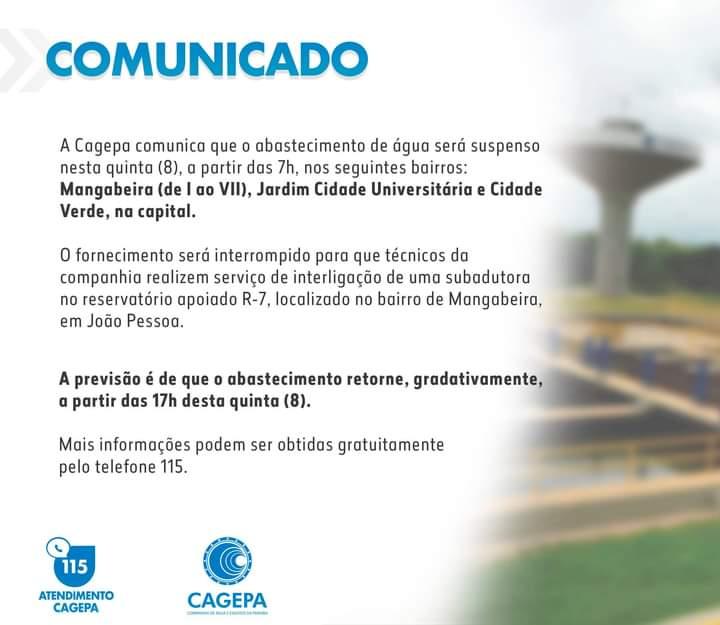 WhatsApp Image 2021 04 07 at 21.38.12 - Falta água em nove bairros de João Pessoa, nesta quinta-feira