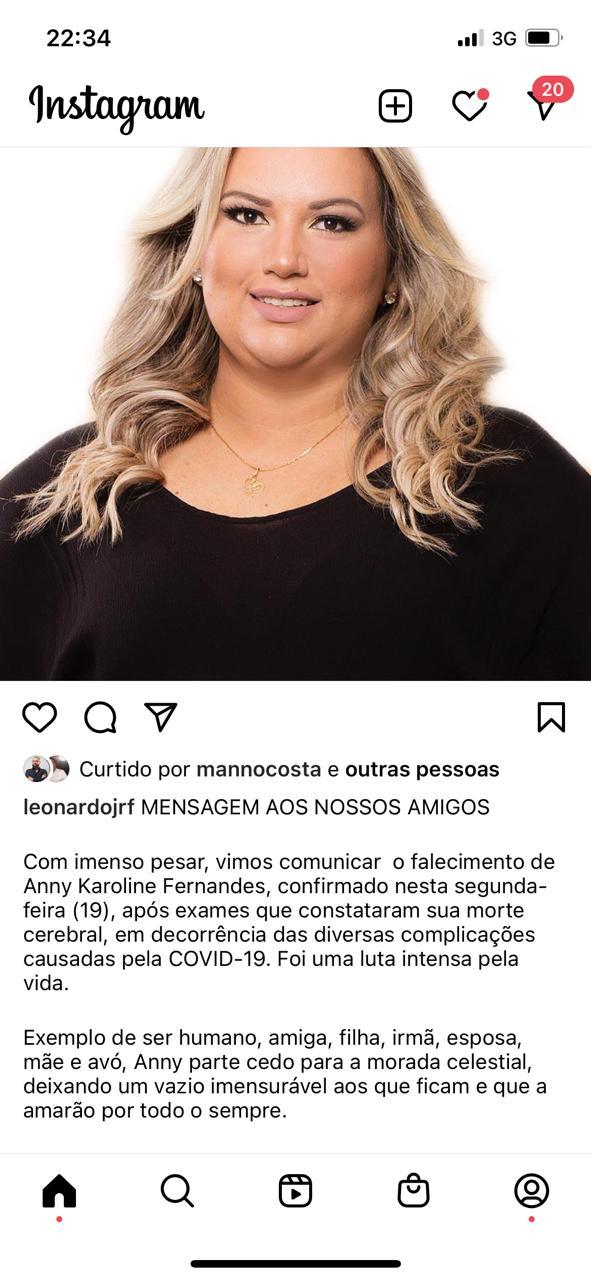 WhatsApp Image 2021 04 19 at 22.35.41 1 - Morre Anny Karoline Fernandes, por complicações causadas pela Covid-19