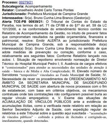 alerta bruno cunha lima - NEPOTISMO: TCE-PB emite alerta contra Bruno Cunha Lima por nomeação de cunhado e acúmulo de cargos públicos na gestão - LEIA DOCUMENTO