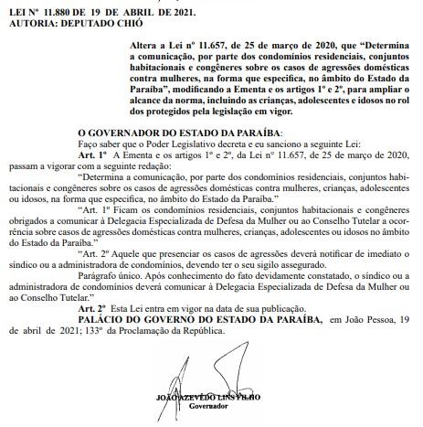 lei alteracao - Alteração em Lei prevê que condomínios devem denunciar casos de agressão a crianças e idosos na Paraíba - LEIA