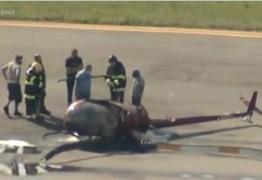 TRAGÉDIA: duas pessoas ficam feridas após queda de helicóptero, nesta segunda-feira – VEJA VÍDEO