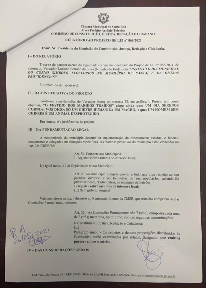 B2433F31 9513 4F32 B2EB 9D290D676D96 - DIA DO CORNO: relatório aponta 'ilegalidade' e falta de interesse local em projeto apresentado em Santa Rita