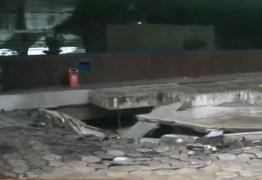 FORTES CHUVAS: Cratera abre mais uma vez na rodoviária de João Pessoa – VEJA VÍDEO