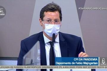 Fabio Wajngarten CPI Pandemia TV Senado - URGENTE: Renan Calheiros pede prisão de Fabio Wajngarten; Omar Aziz nega