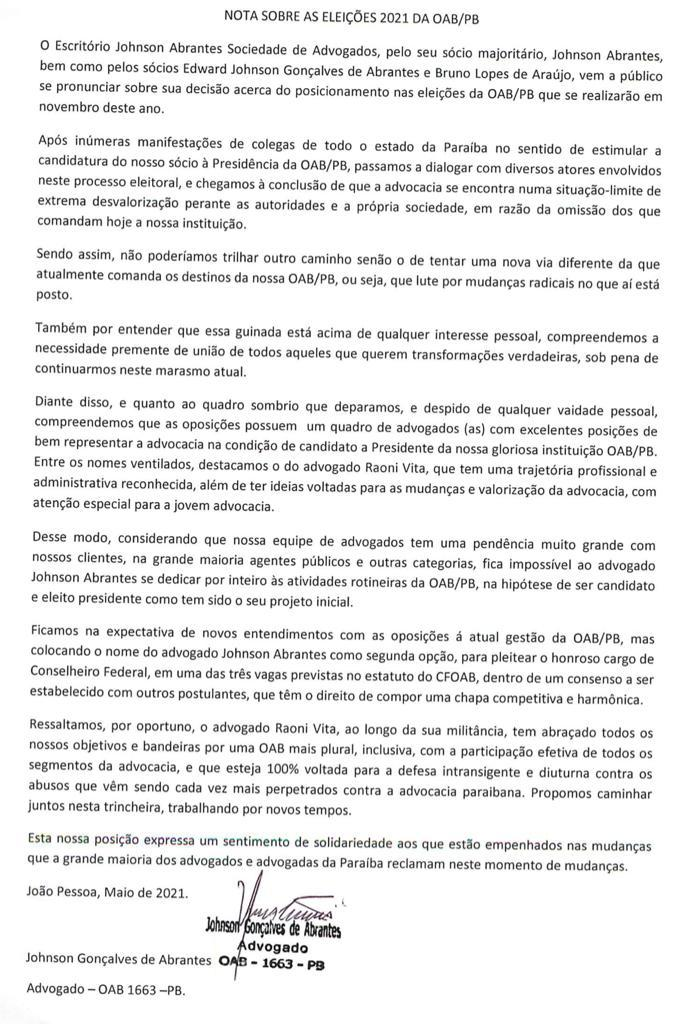 WhatsApp Image 2021 05 03 at 22.29.51 - ELEIÇÃO: Johnson Abrantes apoia Raoni Vita e deve disputar Conselho Federal da OAB