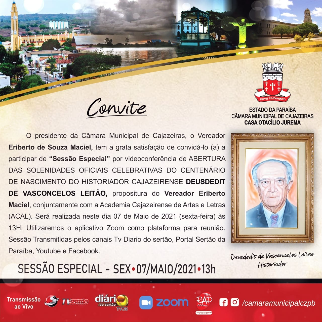 WhatsApp Image 2021 05 04 at 19.05.28 - HOMENAGEM: Câmara de Cajazeiras fará sessão pelo centenário do historiador Deusdedit Leitão