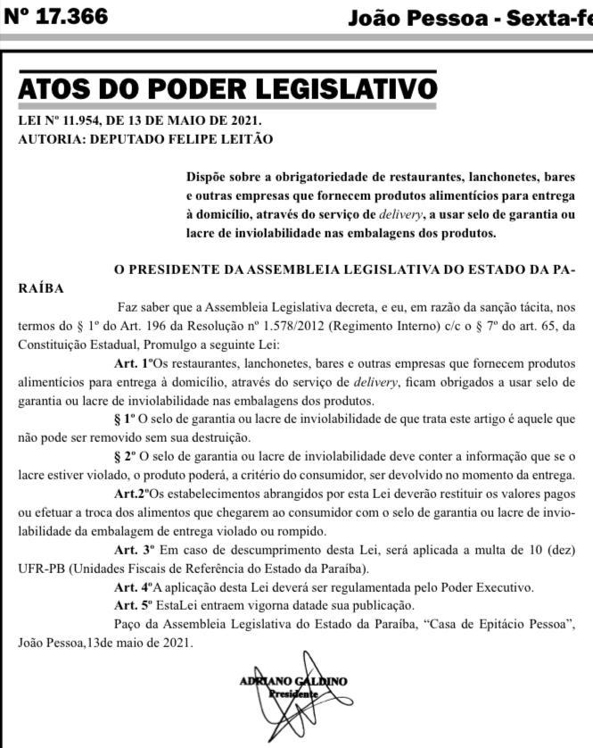 WhatsApp Image 2021 05 14 at 10.55.12 - Publicada lei de autoria de Felipe Leitão que obriga lacre em alimentos vendidos através de delivery na PB