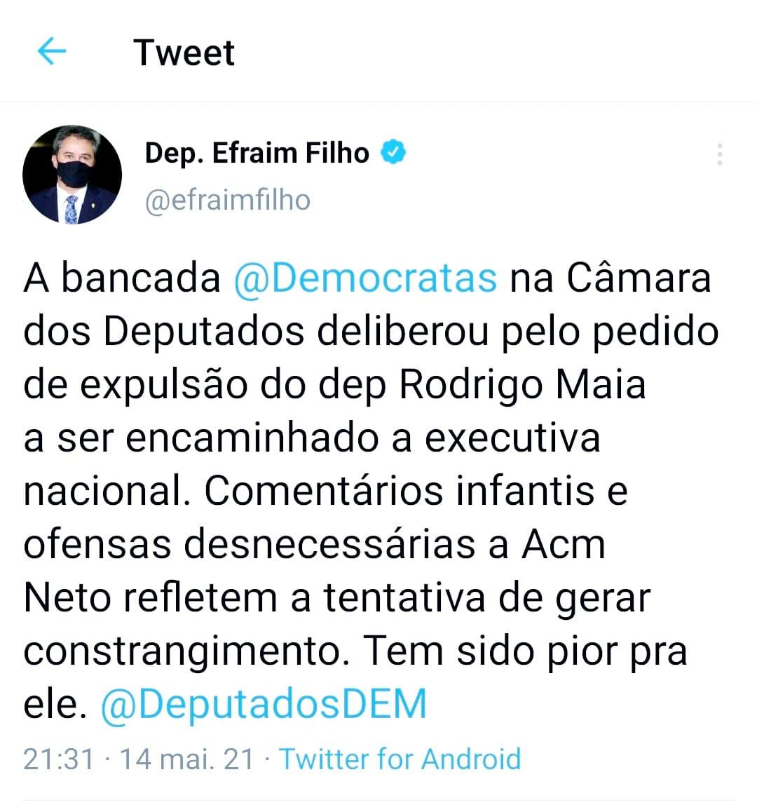 WhatsApp Image 2021 05 14 at 22.54.26 - Bancada do DEM decide pedir expulsão de Rodrigo Maia depois de ataque a ACM Neto