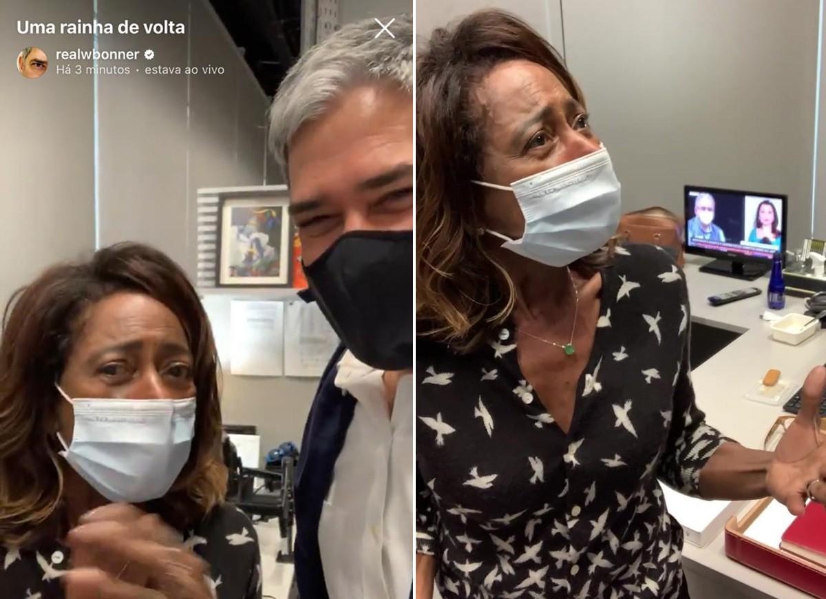 bonner gloria - ENTRE AMIGOS! Bonner registra volta de Glória Maria ao trabalho presencial após ser vacinada contra a Covid-19