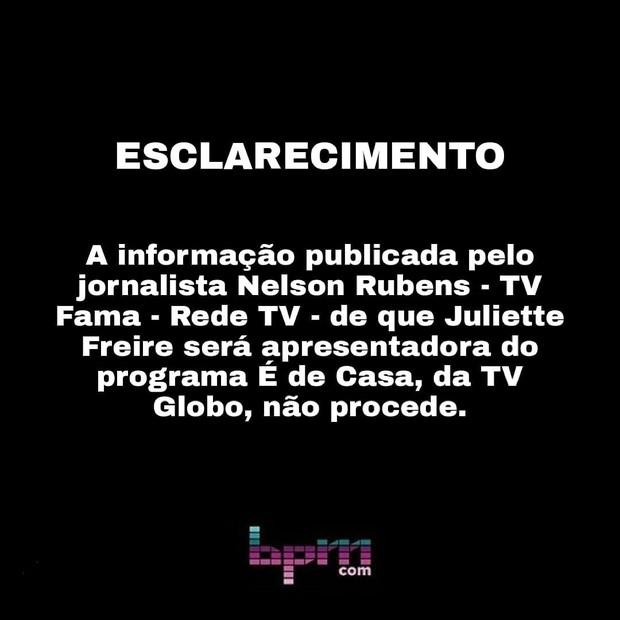 image plsrbph - Juliette não tem contrato renovado com a Globo