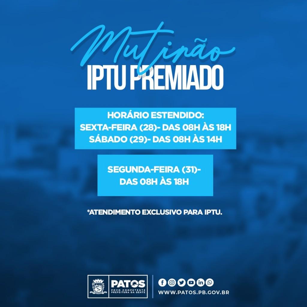 iptu horario - Mutirão para emissão do boleto do IPTU Premiado de Patos acontece nesta segunda-feira, 31