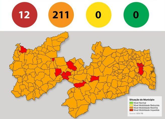 mapa paraiba e1622314381307 - Paraíba tem 95% dos municípios em bandeira laranja na 26ª avaliação do Plano Novo Normal