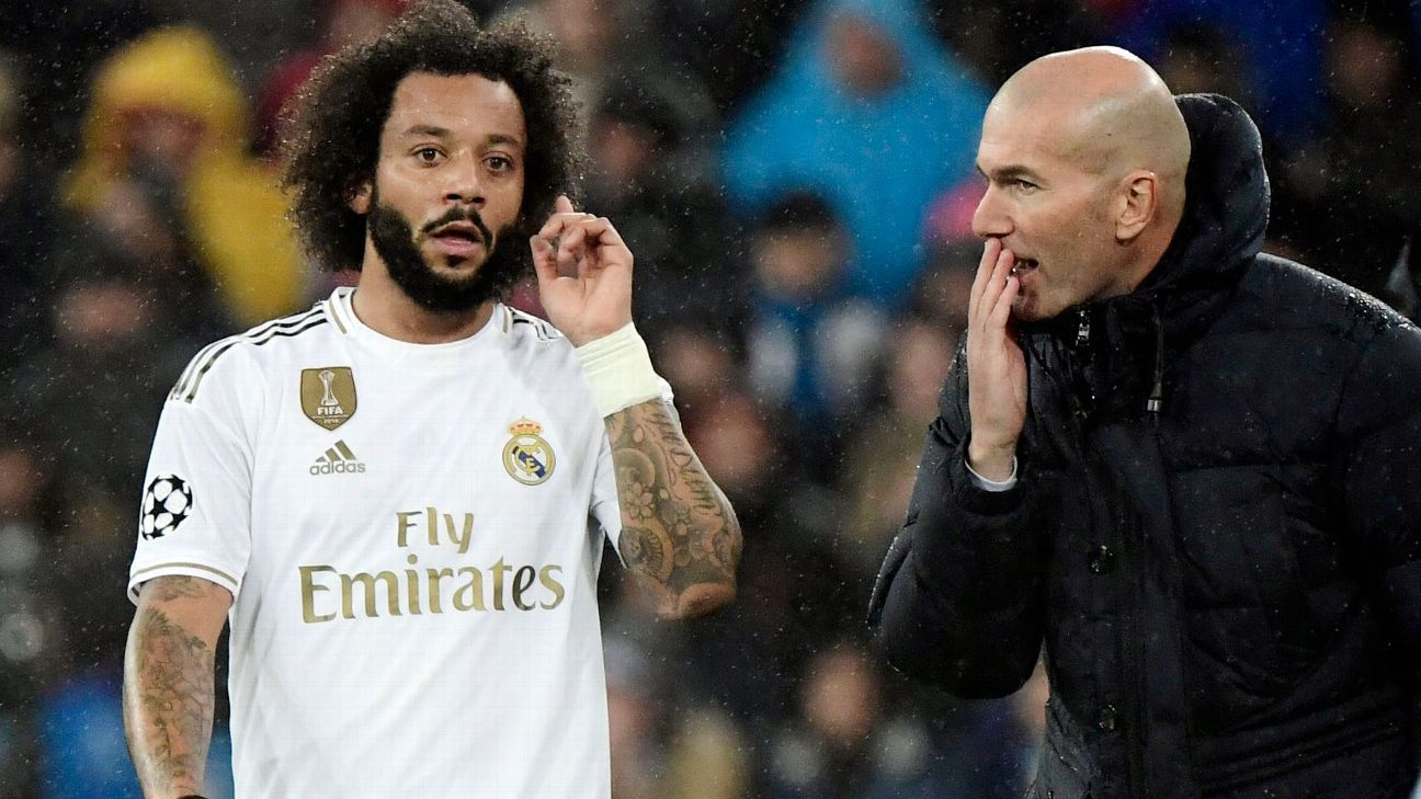 marcelo e zidane - Marcelo é cortado de lista do Real Madrid após discussão com treinador Zidane