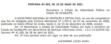 portaria calamidade - COVID-19: Governo federal reconhece estado de calamidade pública em toda a Paraíba - VEJA DOCUMENTO