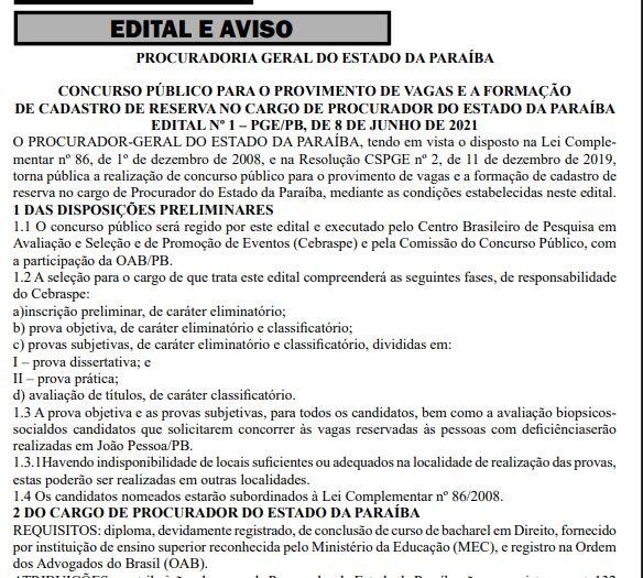 Capturar 28 - PARAÍBA: Governo divulga concurso público com 12 vagas para procurador; salário de R$ 15 mil