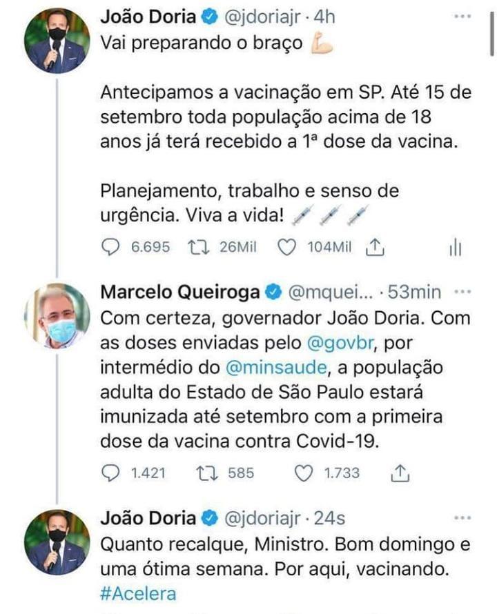 WhatsApp Image 2021 06 13 at 19.33.39 - 'Quanto recalque, ministro', diz Doria a Queiroga sobre antecipação da vacinação