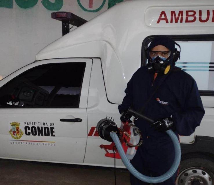 amb - Conde inicia sanitização de prédios públicos e frota municipal