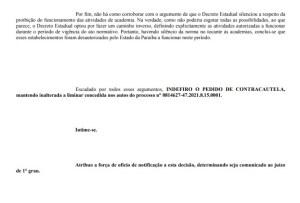 decisao print 300x203 - Justiça indefere pedido da prefeitura de Campina Grande e mantém academias fechadas - CONFIRA DECISÃO