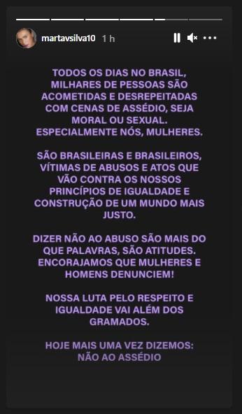 marta - Seleção Feminina: jogadoras publicam manifesto de repúdio ao assédio após escândalo na CBF