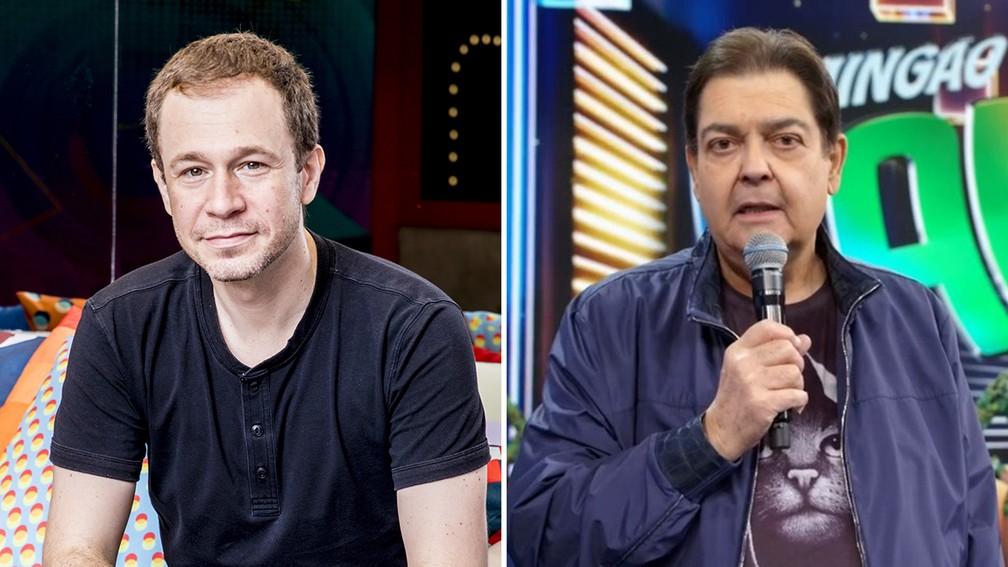montagemtef100621 - Após Fausto Silva adoecer, Tiago Leifert vai apresentar 'Domingão do Faustão' neste domingo