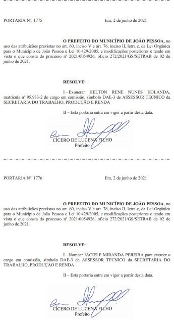 portaria helton rene - MUDANÇA: Cícero exonera Helton Renê de secretaria na prefeitura municipal de João Pessoa - VEJA DOCUMENTO