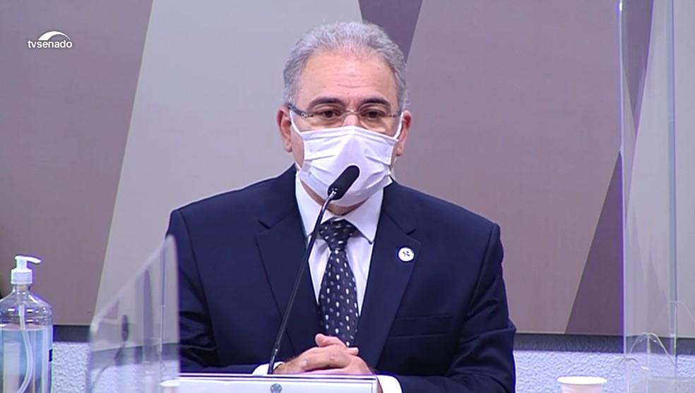 """queiroga - """"Eu sou ministro da Saúde, não censor do presidente"""", diz Marcelo Queiroga durante CPI da Covid"""
