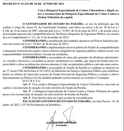 screenshot 1 - Governo da Paraíba cria Delegacia Especializada de Crimes Cibernéticos