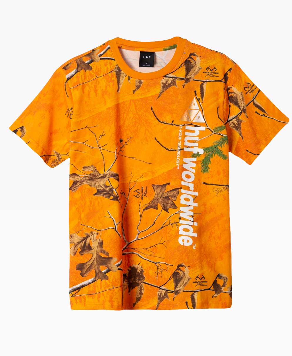 Huf Realtree Peak Logo T Shirt Orange Front
