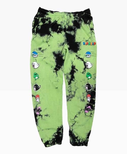Ripnsip Nermio Sweatpants Green Tie Dye Front